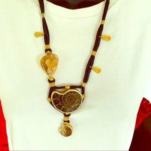 Gennuine Ammonite Fossil stones pendant necklace